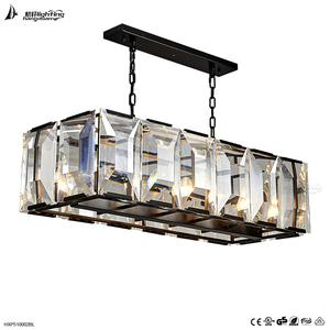 Elegant black square crystal glass pendant lighting