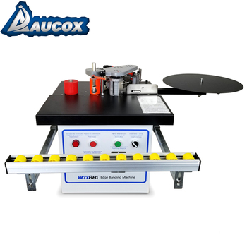 MY-07 30KG Weight mini manual wood edge banding machine with light double glue cover for portable with sliding roller