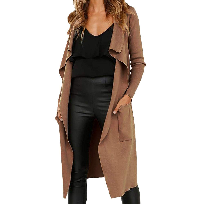 Clearance Sale ! Kshion Women's Fashion Long Sleeve Lapel Faux Suede Open Front Cardigan Suit Pocket Jacket Solid Long Coat