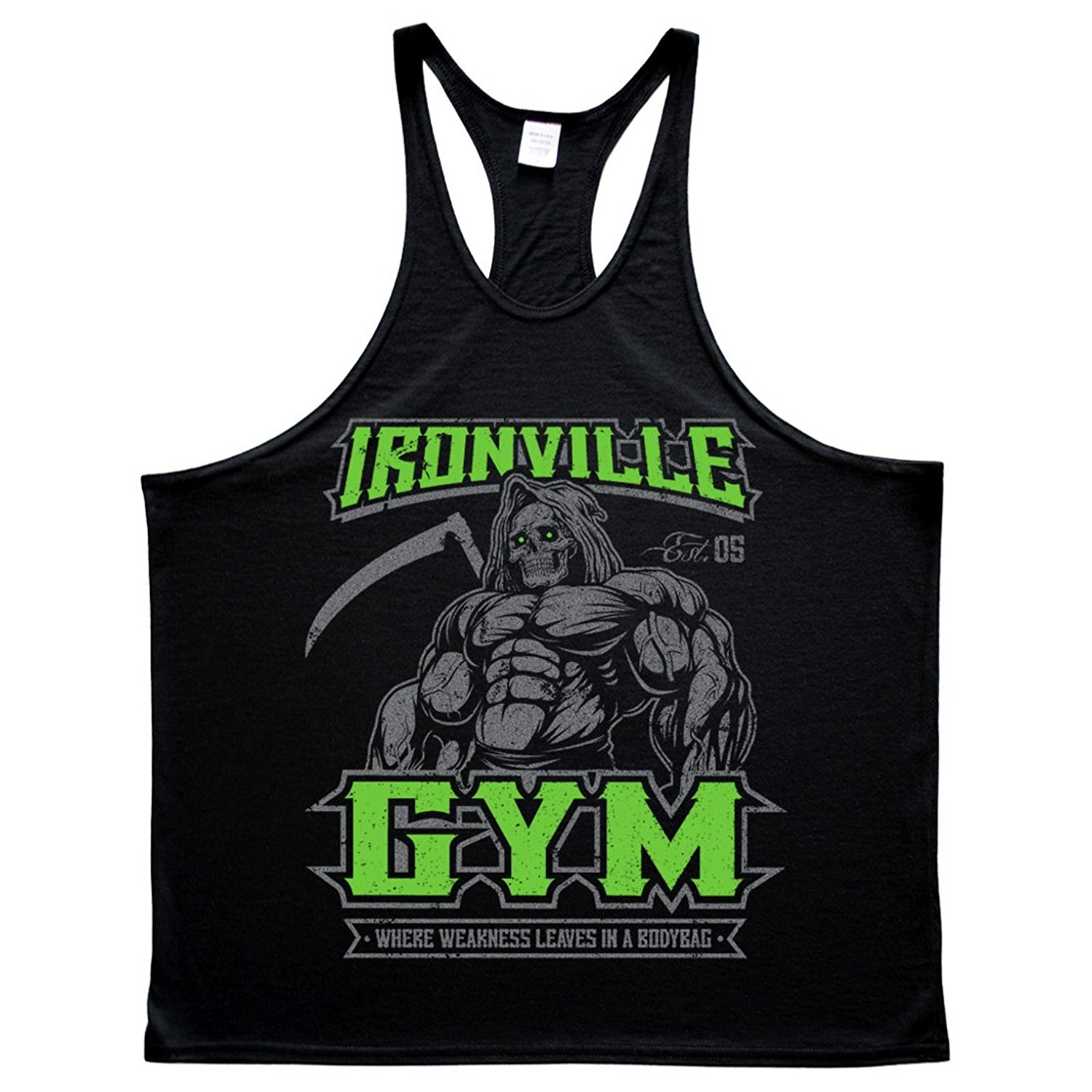 38302ce432c11f Get Quotations · Ironville Gym Reaper - Where Weakness Leaves In A Bodybag  Lifting Stringer Tank