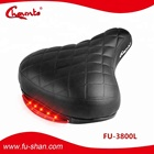 Wholesale Bicycle Parts PVC leather Saddle Bike Seat with Led Tail Light