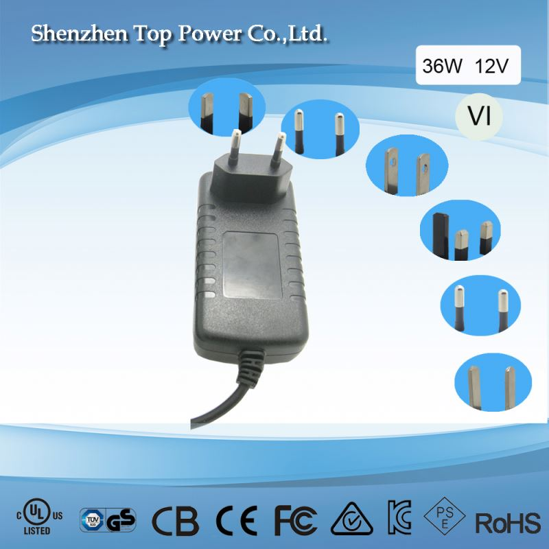 ce rohs 36wwall mounted uk plug adapter 12v 3a dc 5.5*2.1 connector ac powersupp12v 3a wallmounted type adapter
