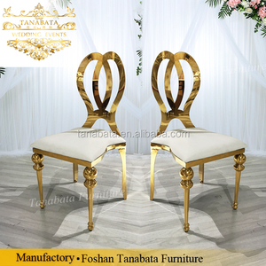 Golden carved back metal legs stainless steel wedding chair
