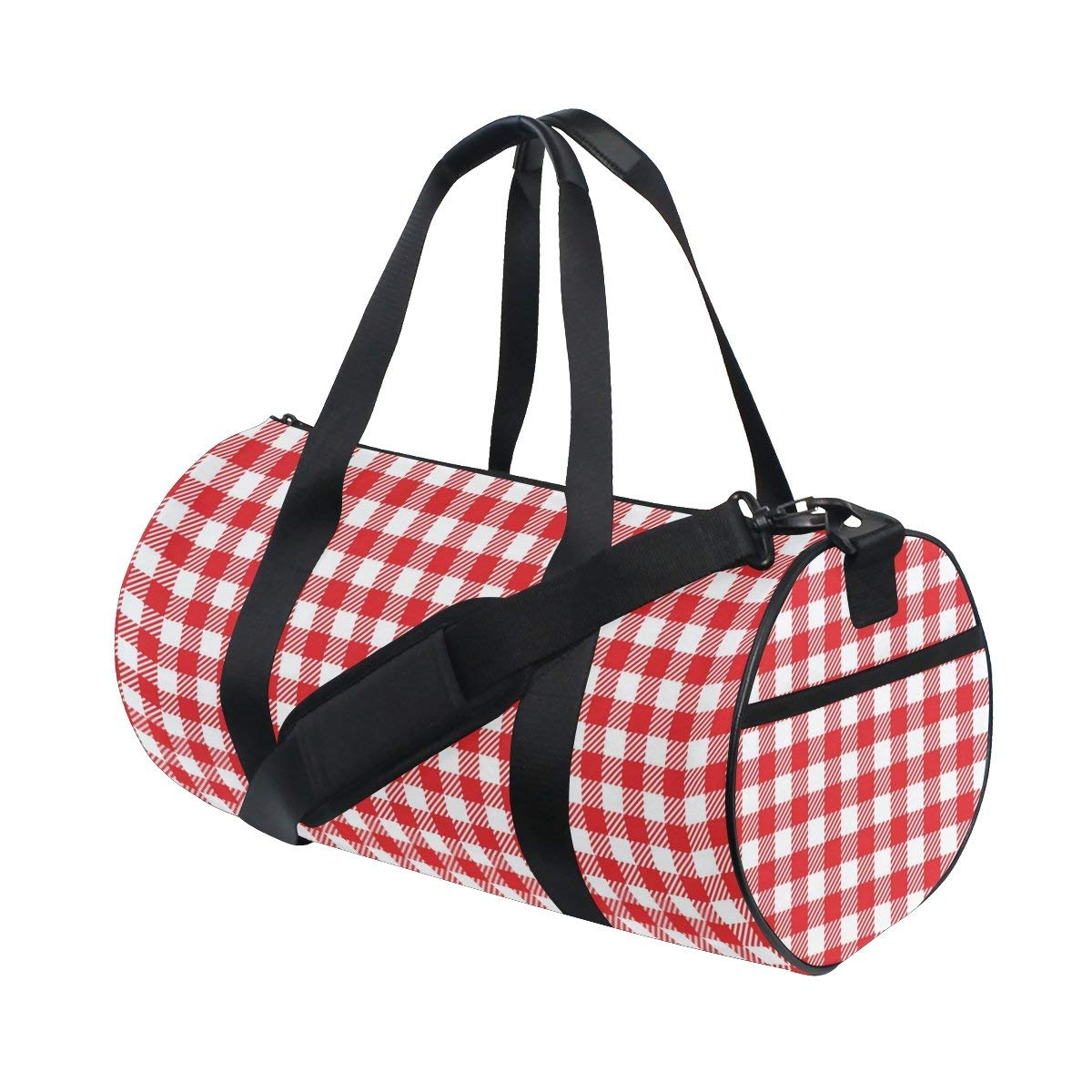 1d4241f72ba2f0 Get Quotations · Naanle Vintage Red Plaid Fabric Texture Geometric Pattern Gym  bag Sports Travel Duffle Bags for Men