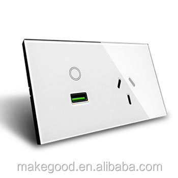 Us Standard Electrical Wall Socket Outlet White Crystal Glass 15a Ac ...