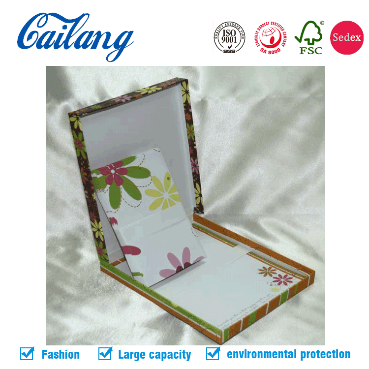 China high quality rigid setup handmade gift box for envelope customized printed flip top paper box