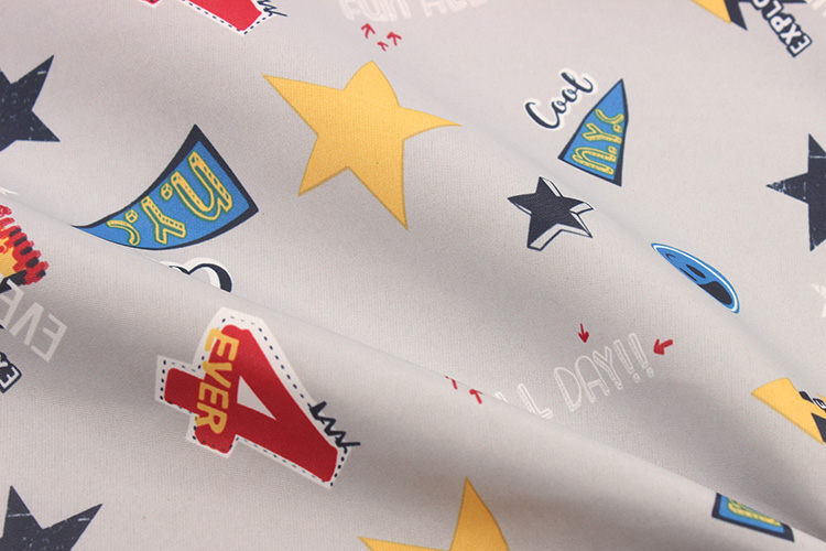 Hot sale 228T polyester taslan fabric with character NYC COOL printing for pants