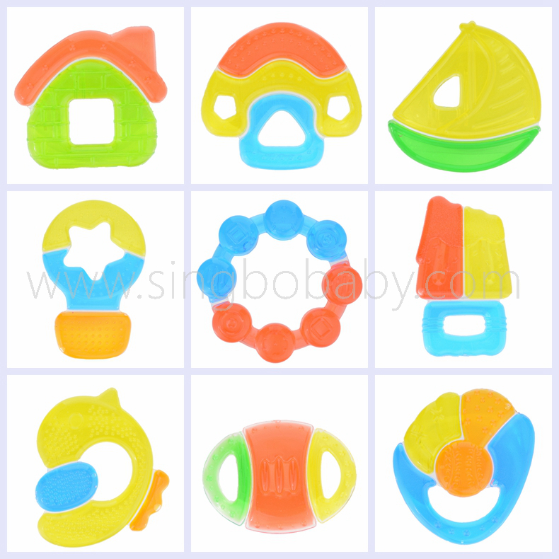 Safety Food Grade BPA Free Differ Shape Funny EVA+Water Baby Teether