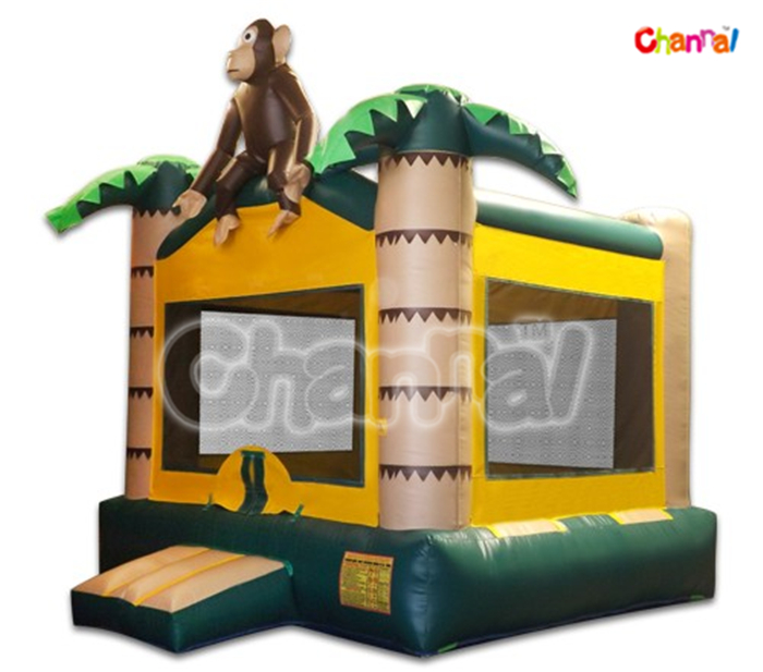 Party Rental Inflatable Castle Monkey Bounce with Palm Tree for Children
