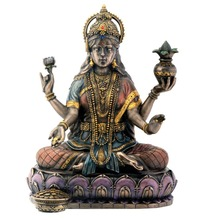 Custom Made Bronze Hindu Goddess Lakshmi On Lotus Hinduism Display Statue
