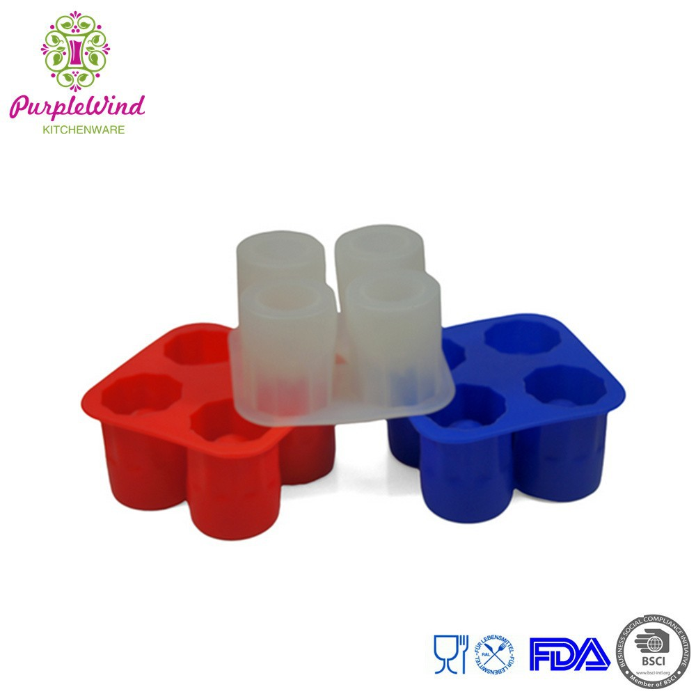 4 holes shot glass shape silicone ice cube tray/silicone ice mold