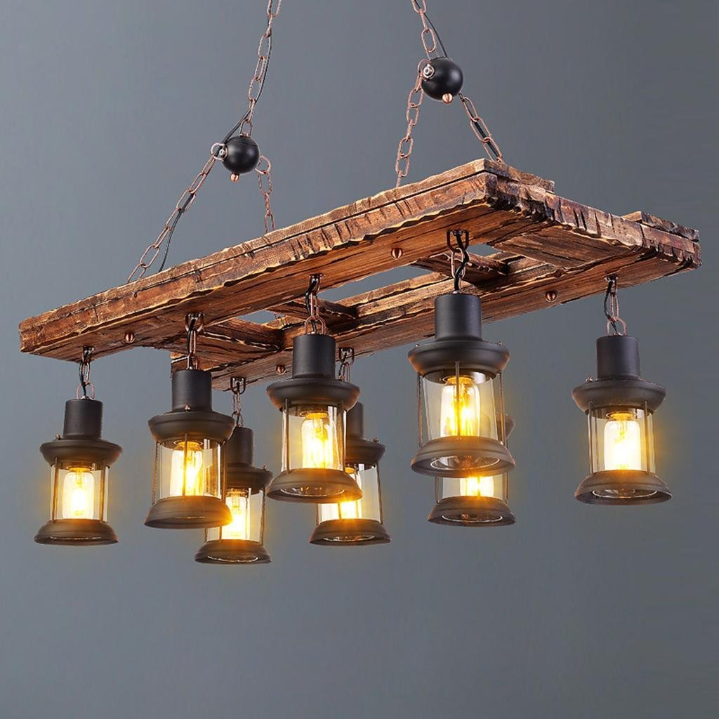 GZD Retro Industrial Style Solid Wood Decorative Chandelier Creative Nordic Old Boat Wooden Chandelier Bar Clothing Store Decoration Lamps 95 40 100cm, Light Source E27