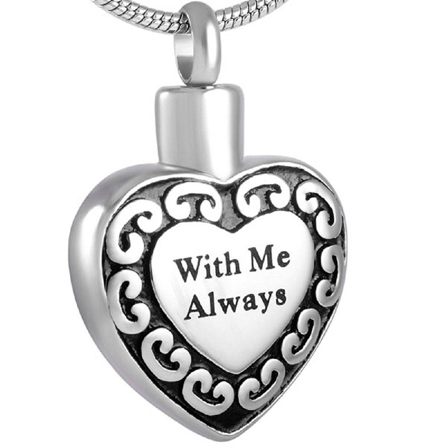 Beydodo Stainless Steel Cremation Pendant Heart Blue Cubic Zirconia Heart Memorial Necklace Urn