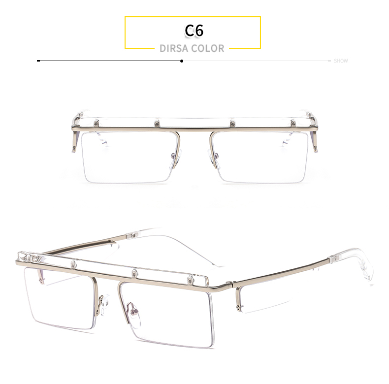 Colorful Custom Vintage Flat Top Mirrored Oversized Rimless Square Sunglasses Women Men