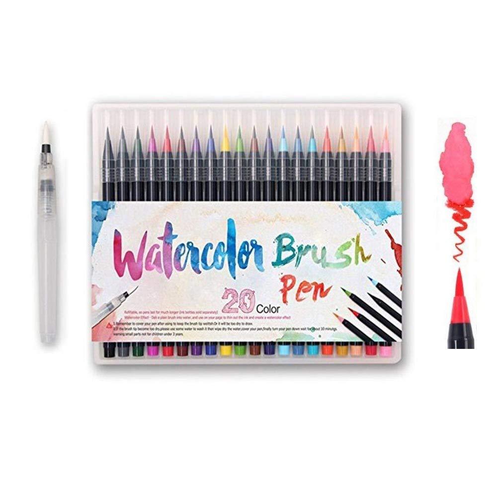 Watercolor Brush Pens Set - Premium Soft Flexible Dual Tips Coloring Brush Pen & Fineliner Color Marker Pens for Children Adult Coloring Sketching Books, Manga, Comic, Calligraphy (20 colors)