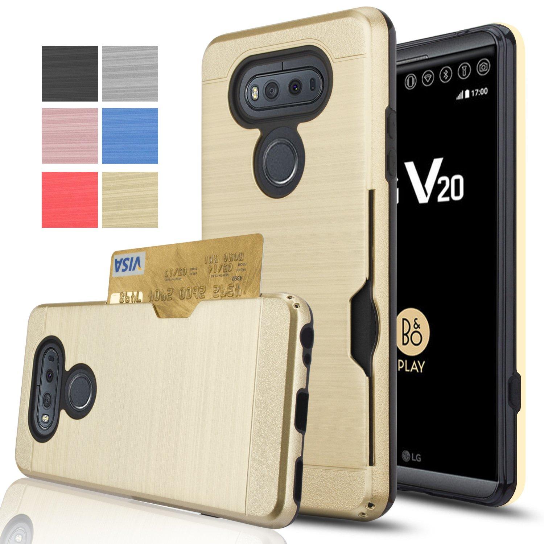 LG V20 Case,AnoKe [Credit Card Slots Holder][Not Wallet] Hard Plastic PC TPU Soft Hybrid Shockproof Heavy Duty Protective Holster Cover Case For LG V20 2016 KC2 Gold