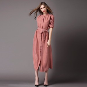 OEM private logo latest design morden women clothing 2019 dresses women summer waist tie shirt dress