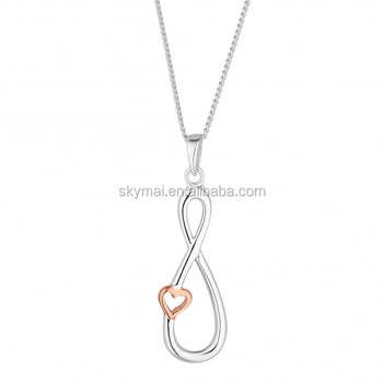 3224d0e22b08a6 Simply Silver Sterling silver rose gold and silver two tone plated infinity  and heart necklace