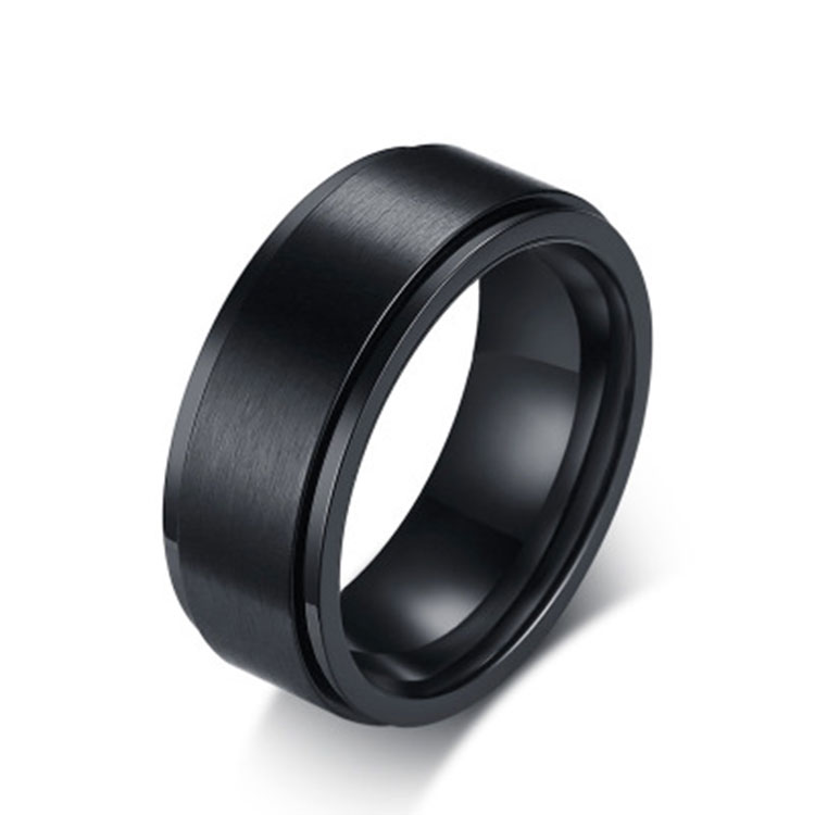 Black titanium <strong>ring</strong> 8MM wide men's <strong>ring</strong>