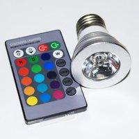 top selling AC 110-240V E27/B22/GU10 base remote control 3W led RGB colors bulb light