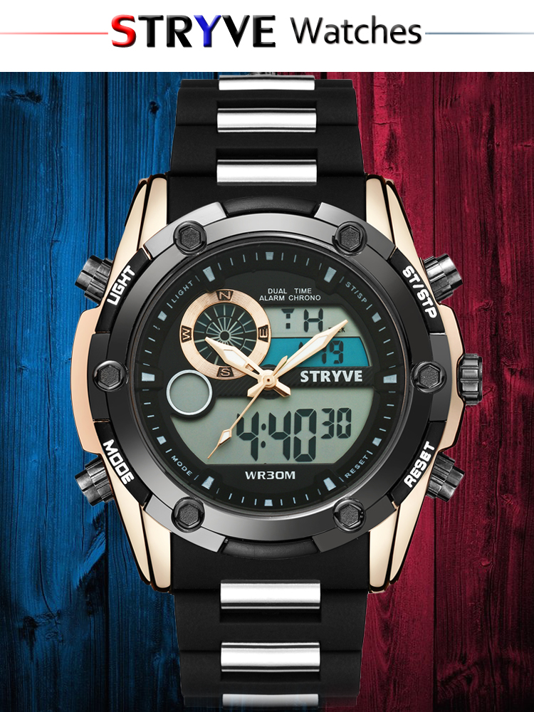 STRYVE Mens Watches Top Brand Luxury Digital Male Sport Watch Waterproof Men dual display Wrist Watches Clock Relogio Masculino
