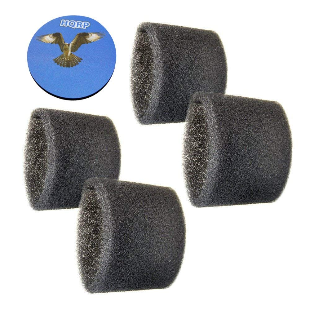 HQRP 4-Pack Foam Filter Sleeve for Shop-Vac 3150, 3200, 3225, 3332, 3332.5A, 3332.5B / 333-80-27, 3333.5, 3333.OH, 3334 Wet Dry Vac Vacuums Coaster
