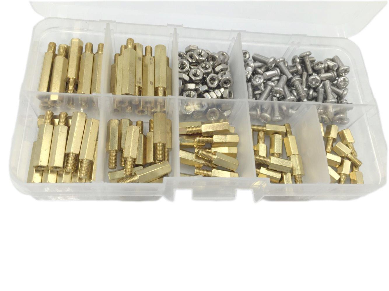 HVAZI 210pcs M3 Male Female Brass Spacer Standoff/Stainless Steel Screw/Nut Assortment Kit