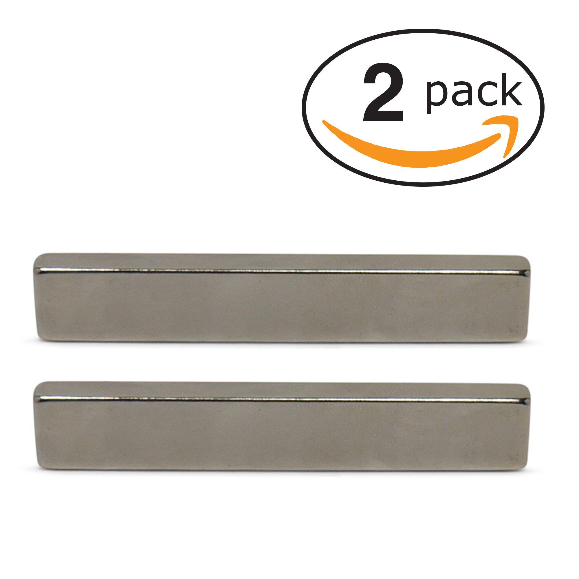 "Neodymium Bar Magnets (INDUSTRIAL STRENGTH - 2 PACK) Incredibly Strong 33+ LB Strength - N45 Grade Heavy Duty - Powerful Rare-Earth Metal Neodymium Magnet - 3"" x 1/2"" x 1/4"""