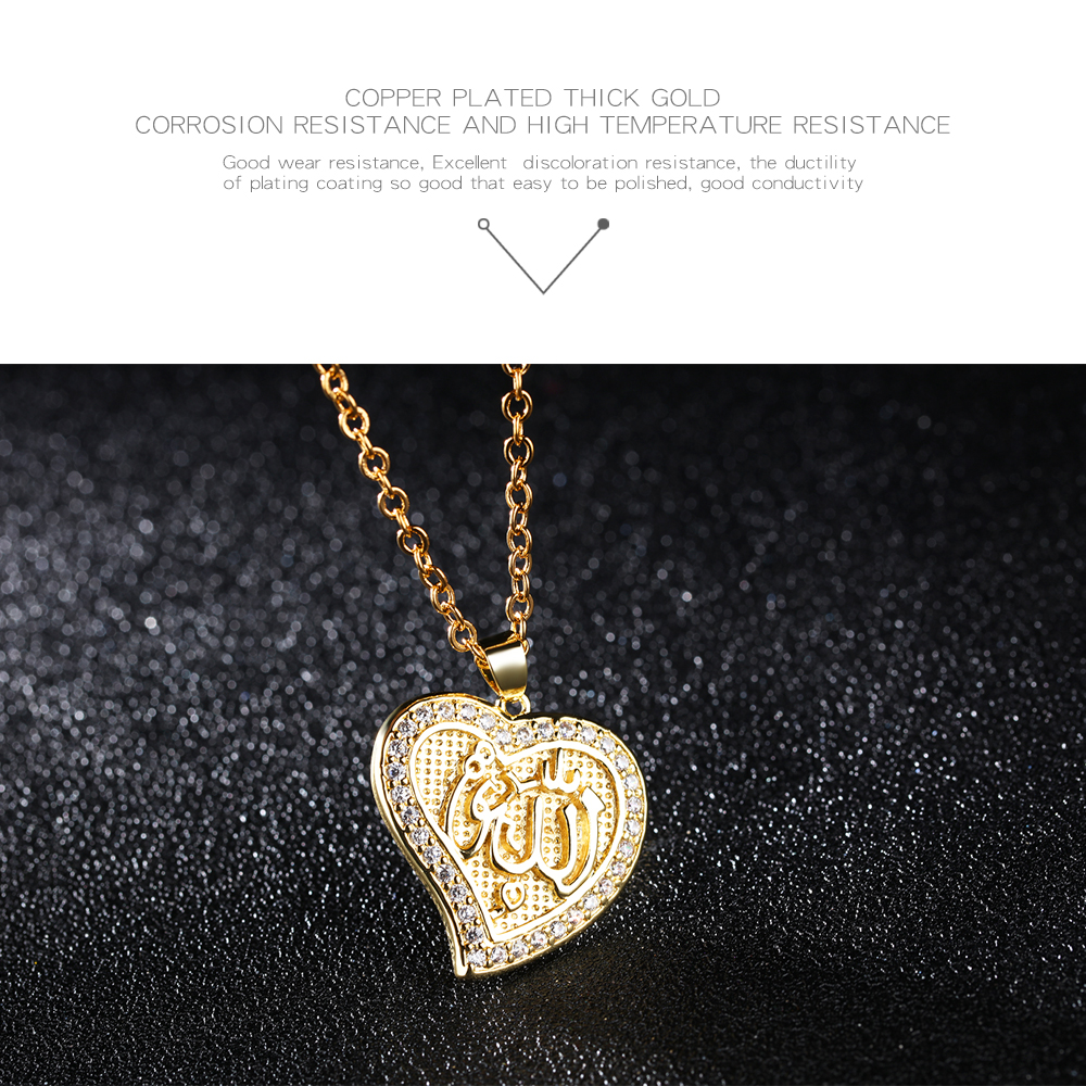Wholesale Copper Jewelry Heart Design Silver Gold Arabic Letter Necklace
