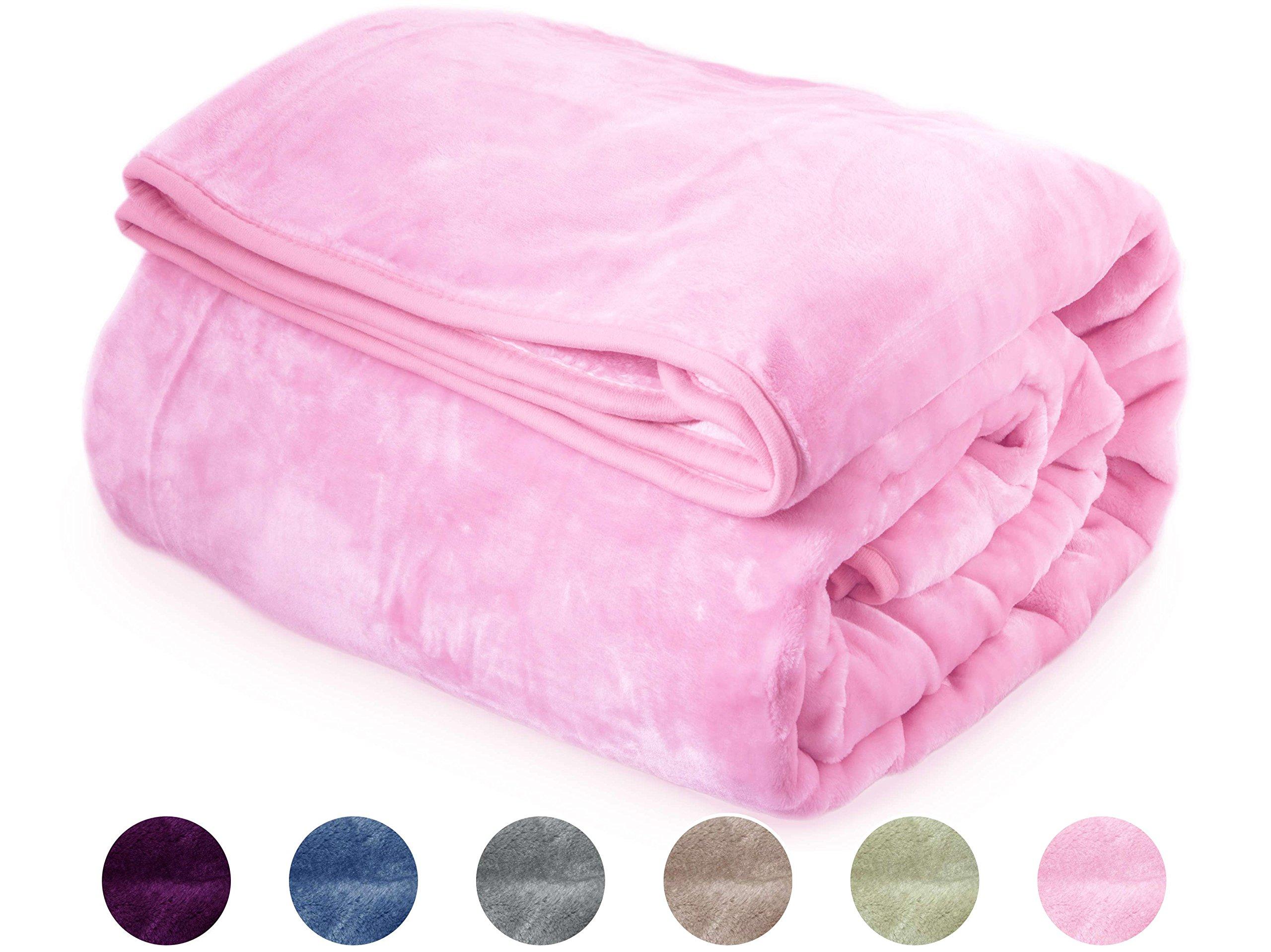 "Archangel Ultra Silky Soft Heavy Duty Quality Korean Mink Reversible Cloud Blanket Solid Silver Pink Queen 83""x94"""
