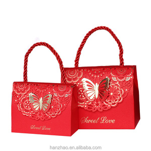 Decorative Butterfly Different Sized Indian Wedding Favor Paper Sweet Bag Box Candy Gift Boxes with Handle