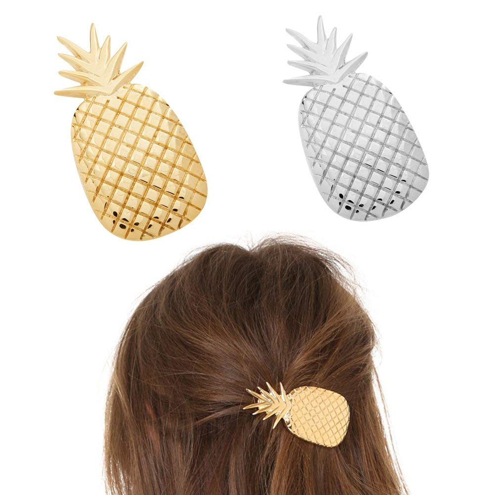 ShungFun Women Hair Clips Metal Pineapple Pattern Hair Bang Clips Retro Hairpins Pigtail Spring Clips Hair Holders Barrettes for Girls Keens (Set of 2pcs)