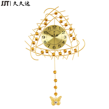 Jjt Fashion Beautiful Gold Retro Design Modern Pendulum Wall Clock