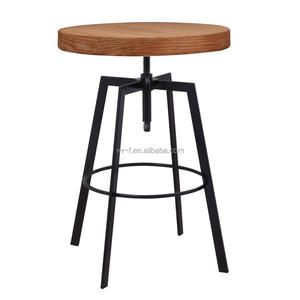 Newest iron frame wooden top height adjustable bar cocktail table