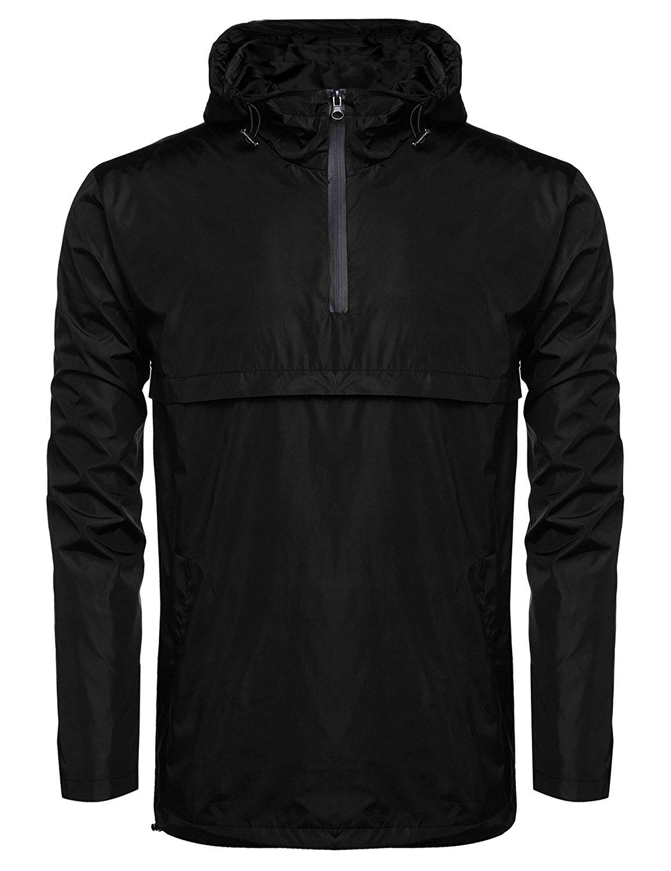 JINIDU Men's Classic Solid Windbreaker Pullover Windproof Jacket With Hood