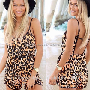 monroo sexy leopard printed playsuits women backless suspenders jumpsuits