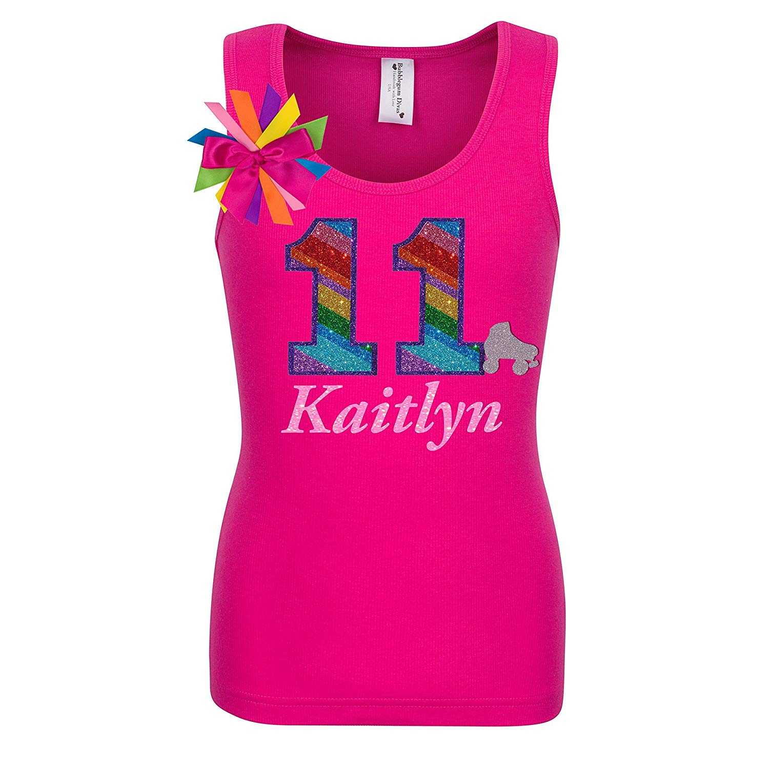 dd9ccfdcb75 11th Birthday Shirt Rainbow Eleven Glitter Roller Skate Tween Girls Glow  Party Personalized Name 11