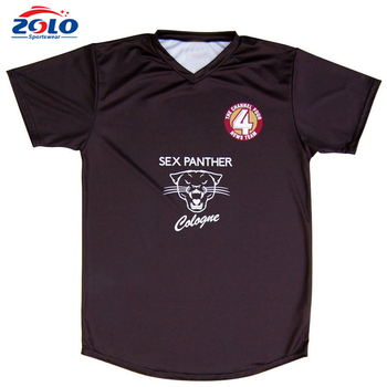 Popular and fashion bulk 100% polyester full black football tshirt