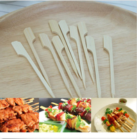 Bamboo paddle pick skewer rotating bbq skewer