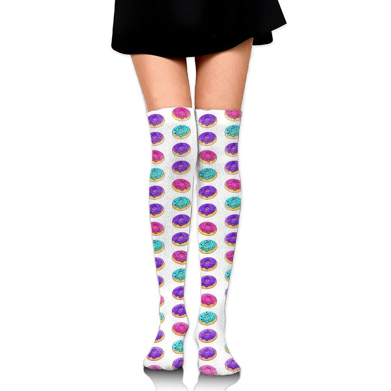 Zaqxsw Doughnut Food Women Vintage Thigh High Socks Thermal Socks For Ladies