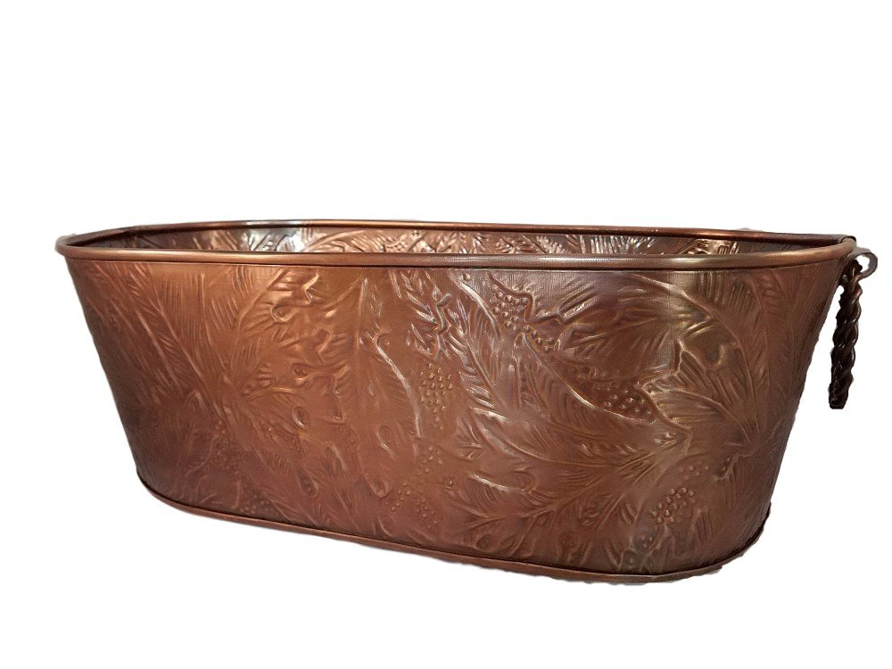 Get Quotations · Large Oval Copper Beverage Party Tub Cooler; Ice Tub, Wine  Chiller Or Beer Bucket