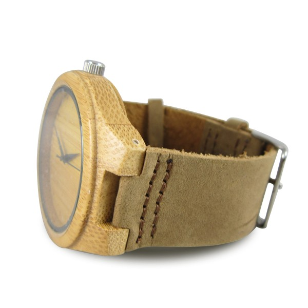 Bamboo wood watch case + leather watch band custom logo wooden watches