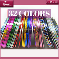 Hot nail product 32 colors self-adhesive plastic nail decoration nail art striping tape FF-JYX-551