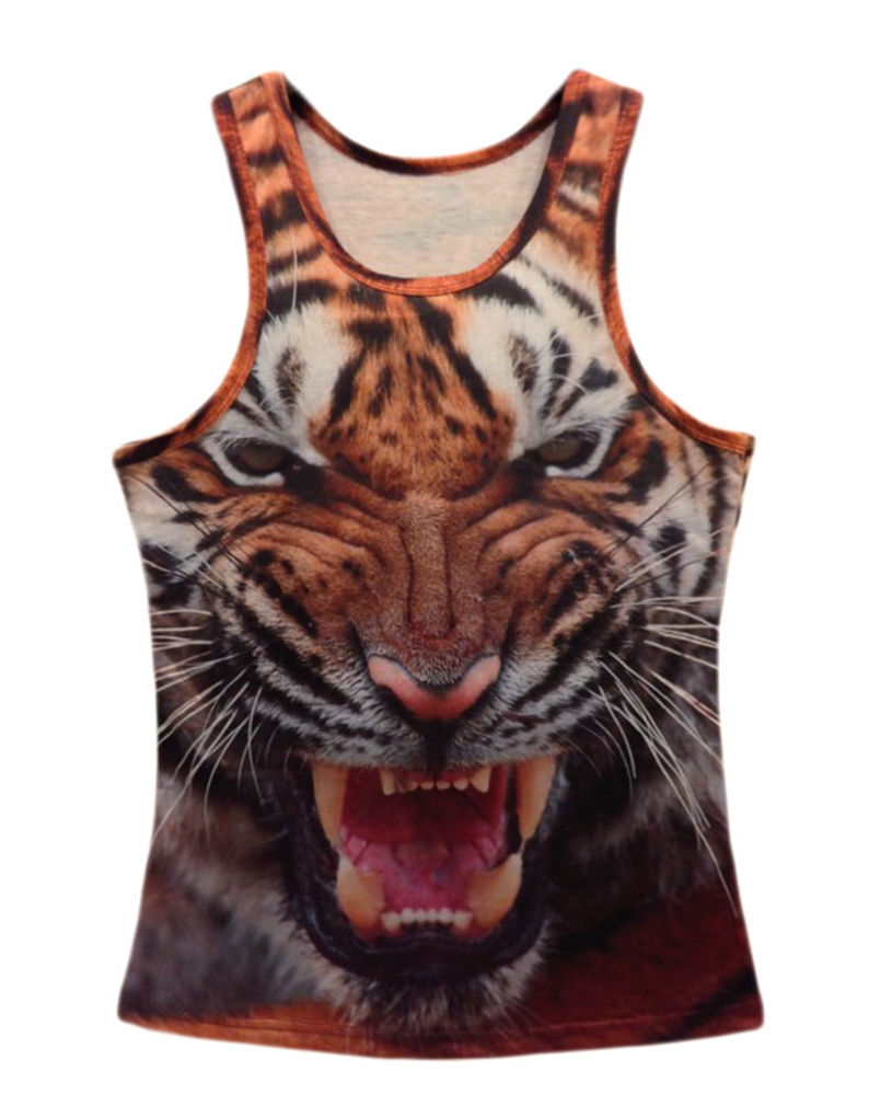 Professional for Men Women 3D Real Tiger Vest Hip Hop Animal Graffiti Big Face Tank Top Custom Muscle Sleeveless Tank T Shirt