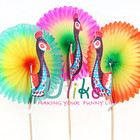 Colourful Peacock honeycomb fan tai Cocktail Sticks table decoration