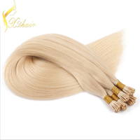 hot selling good quality brazilian vigin wholesale unprocessed i tip hair extension Golden yellow long straight hair