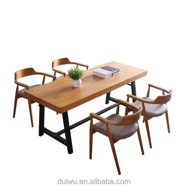 wooden platform iron frame simple table sets for fancy department