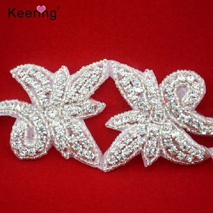 butterfly rhinestone applique sash belt WRA-183