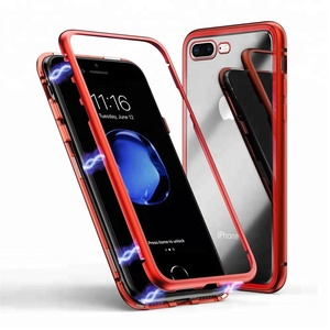 For iPhone 7 Case Ultra Slim Metal Frame Tempered Glass Cover Magnetic Phone Case