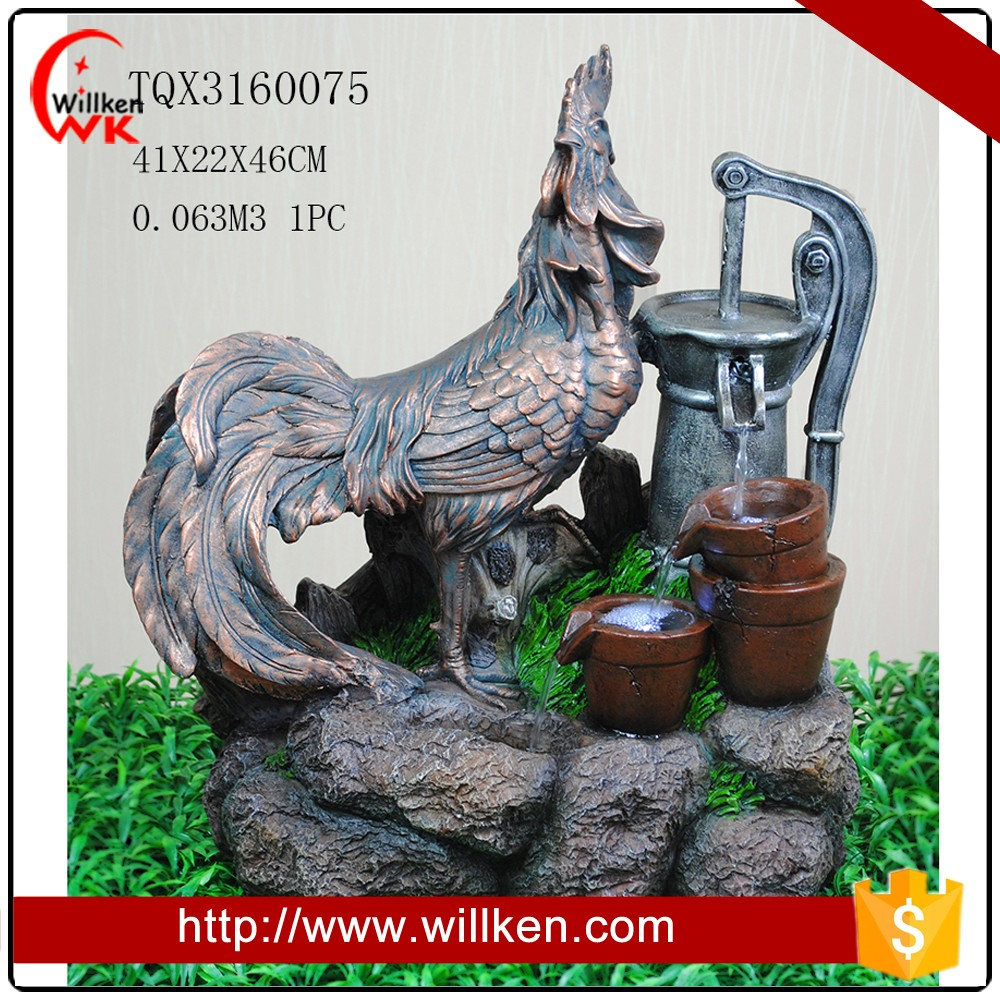 Polyresin Rooster and shrub pots decorative fountain for garden decor